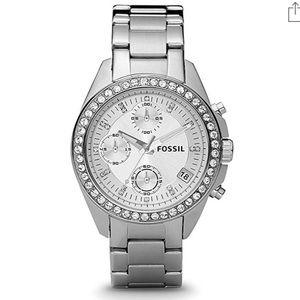 Fossil Watch ES2681 Silver with Swarovski Studs